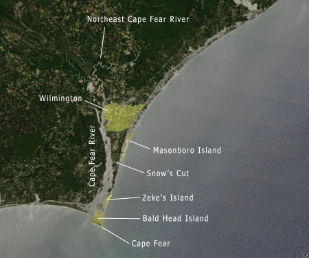 Wilmington fishing - Cape Fear map